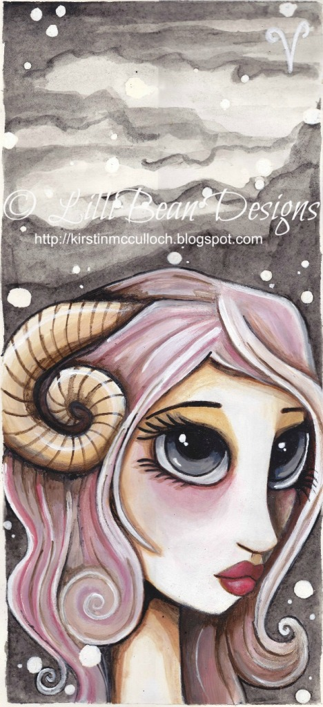 "ARIES AVAILABLE FOR SALE HERE Approx 5.1/2 x 11.1/2""Acrylic + water color paint on quality hot pressed paper"
