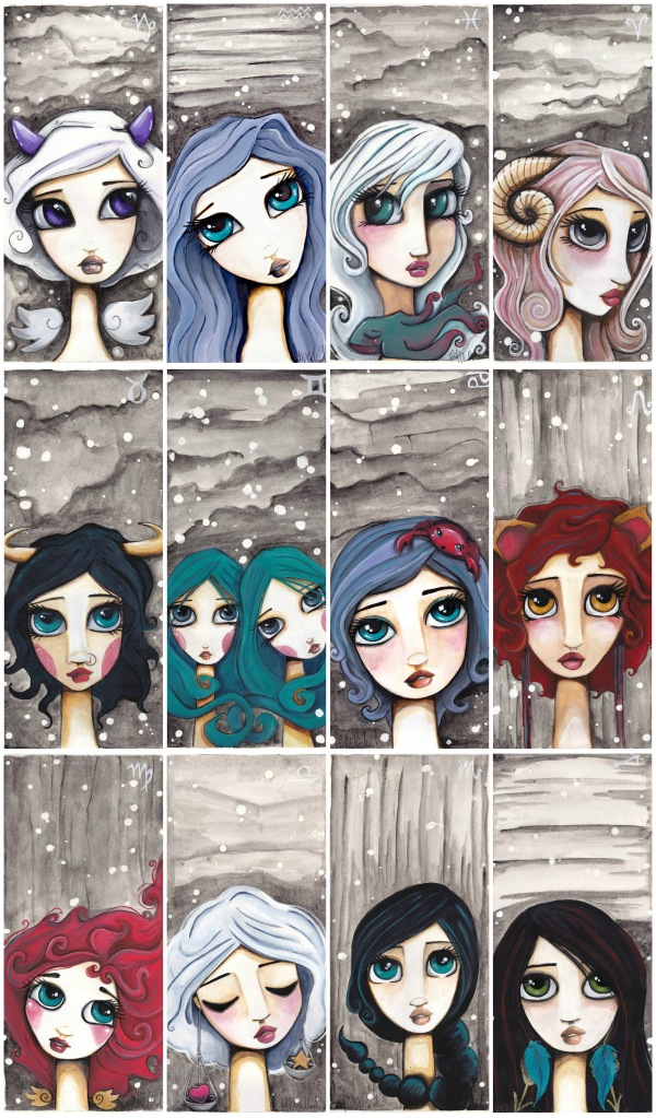 Zodiac Girls Art Print Vertical setting   Available here