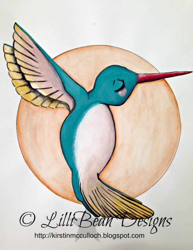 "Humming Bird Heart 14 x 11"" acrylic + water color painting AVAILABLE FOR SALE HERE"